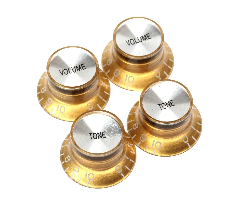 Brio Set of 4 Reflector Knobs Gold w/Silver Top