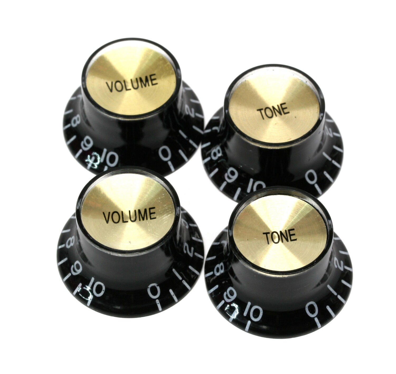 Brio Set of 4 Reflector Knobs Black w/Gold Top