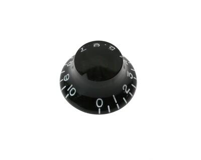 Black Bell knob, vintage style numbers, fits USA split shaft pots.