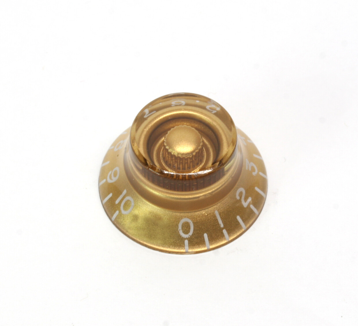 Gold Bell knob, vintage style numbers, fits USA split shaft pots.
