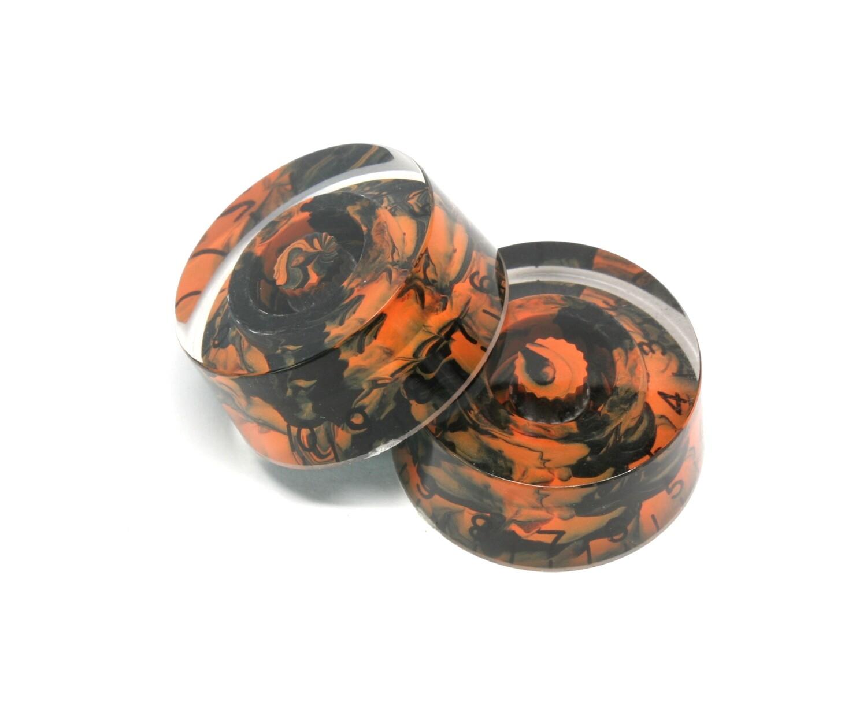 Custom Swirl Black/Orange Speed knobs vintage style numbers, fits USA split shaft pots.