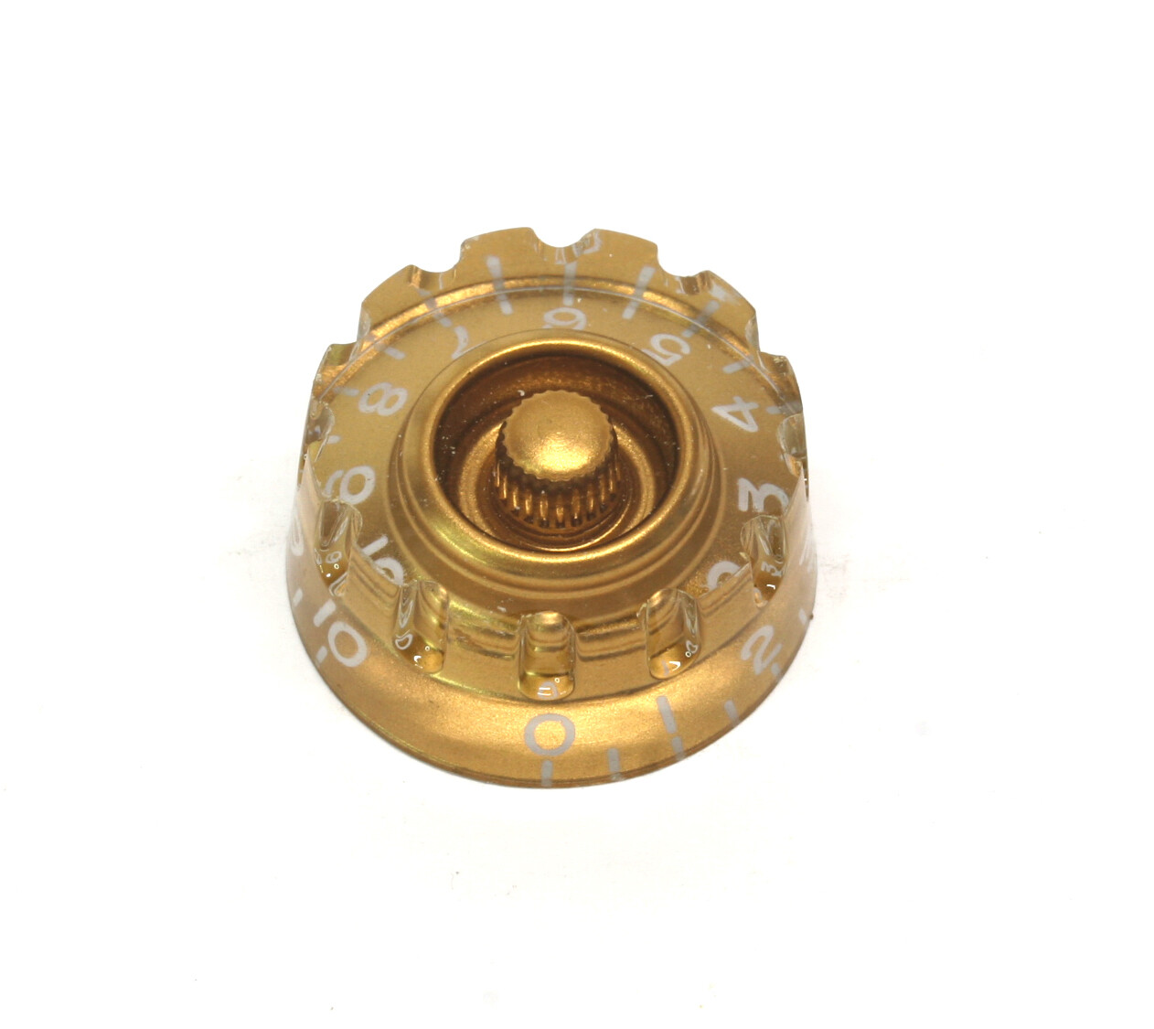 Gold Speed knobs *Knurled vintage style numbers, fits USA split shaft pots.