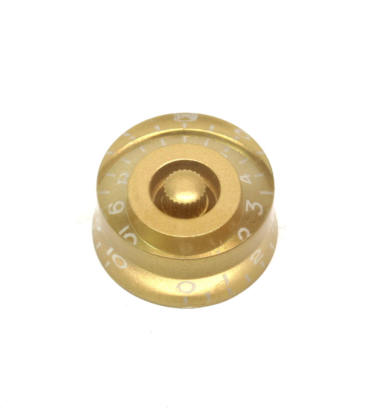 Light Gold Speed knobs vintage style numbers, fits USA split shaft pots.