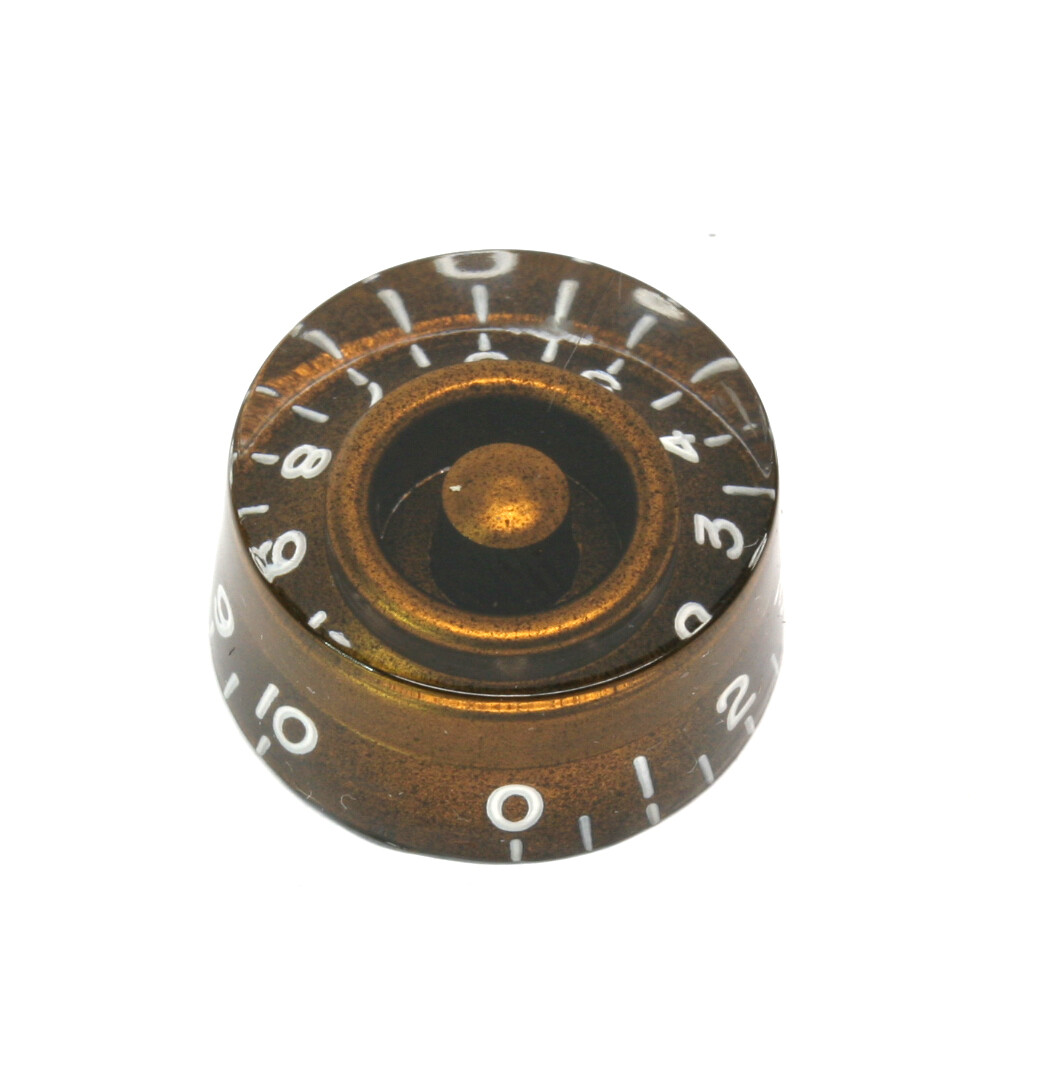 Chocolate Brown Speed knobs vintage style numbers, fits USA split shaft pots.