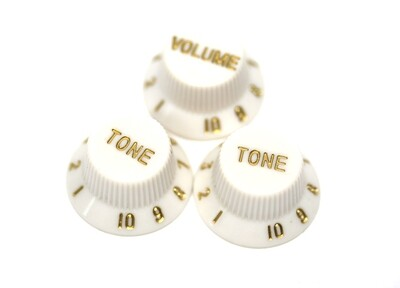 Left Hand Set Parchment Bell Strat® Knobs USA FIT