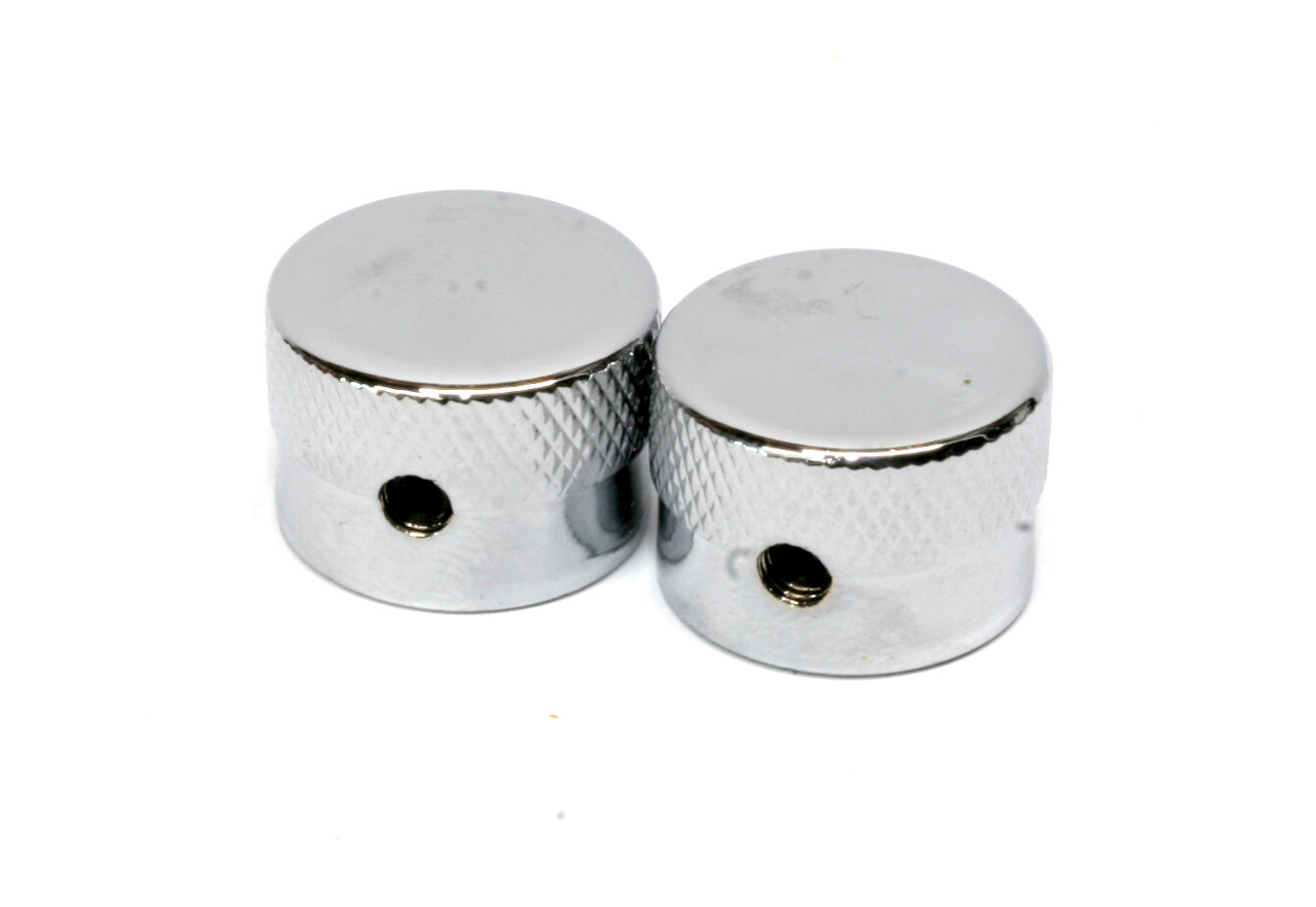 Gretsch Style Chrome knobs (2), with set screw, fits USA split shaft pots