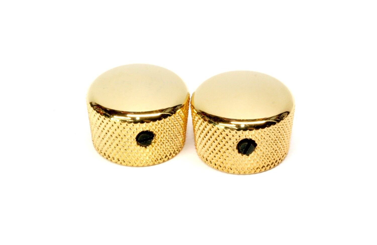 """Gold Cupcake metal knobs (2), with set screw, fits USA solid shaft pots.3/4"""" wide."""
