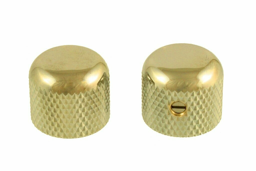 """Gold Short dome knobs (2), Gotoh, with set screw, fits USA split shaft pots, 5/8"""" tall x 3/4"""" wide."""