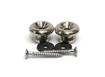 Brio Guitar Metal 15mm Strap Buttons, Chrome