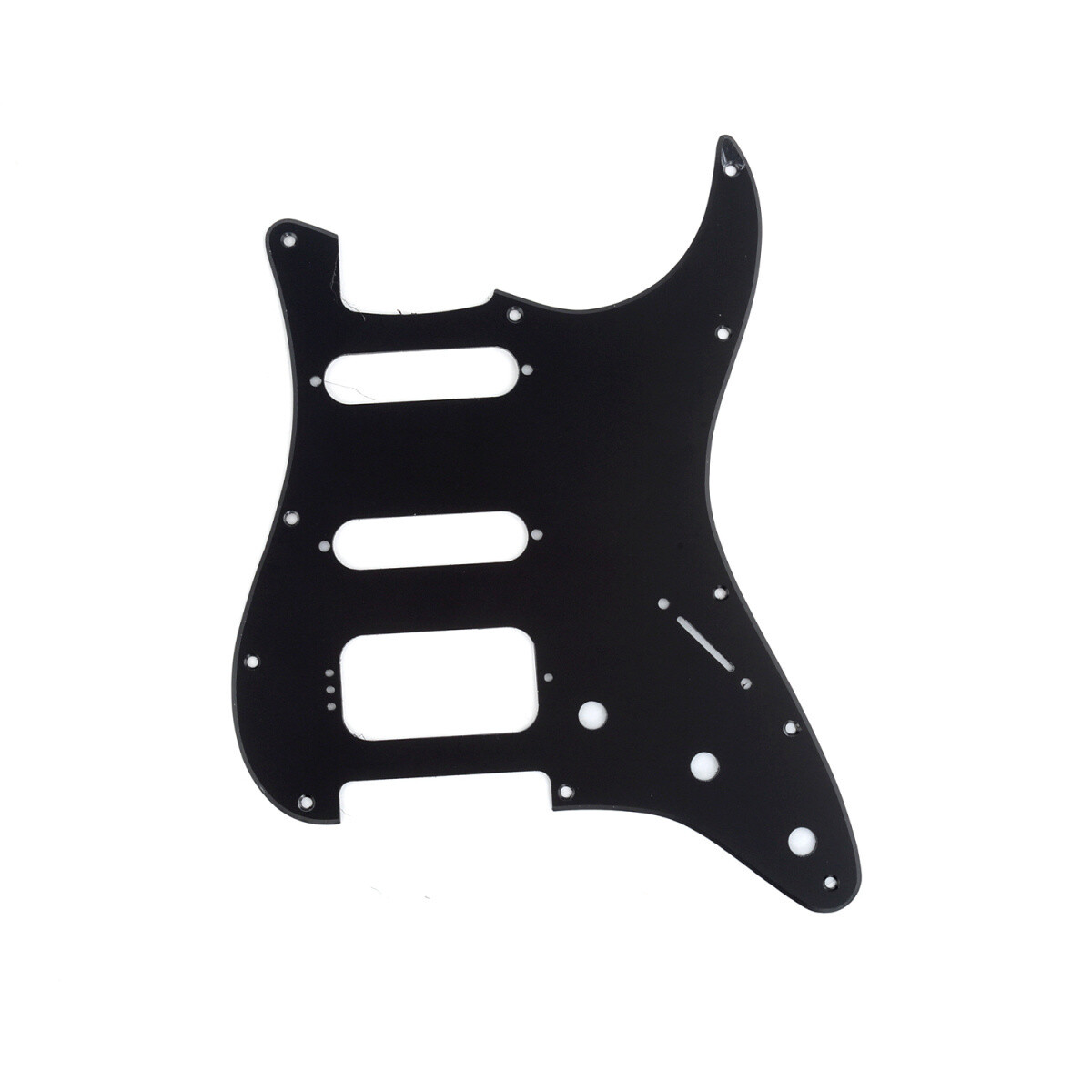 Brio 11-Hole Modern Style Strat HSS Pickguard for American Stratocaster Matte Black 1 Ply