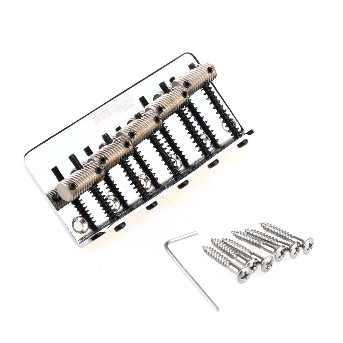 Wilkinson 76.2mm(3 inch) String Spacing 5-String Fixed Bass Bridge Threaded Saddles for Precison Bass and Jazz Bass, Chrome