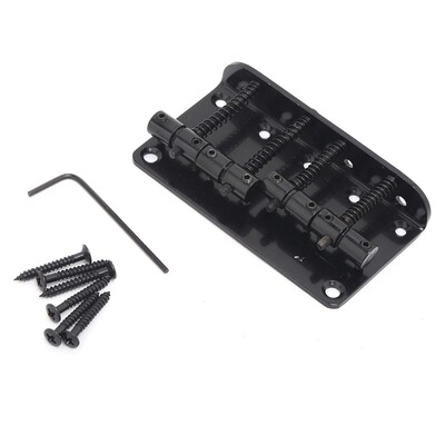 Brio 4 String Vintage Style Bass Bridge for Jazz Bass Top Load Black
