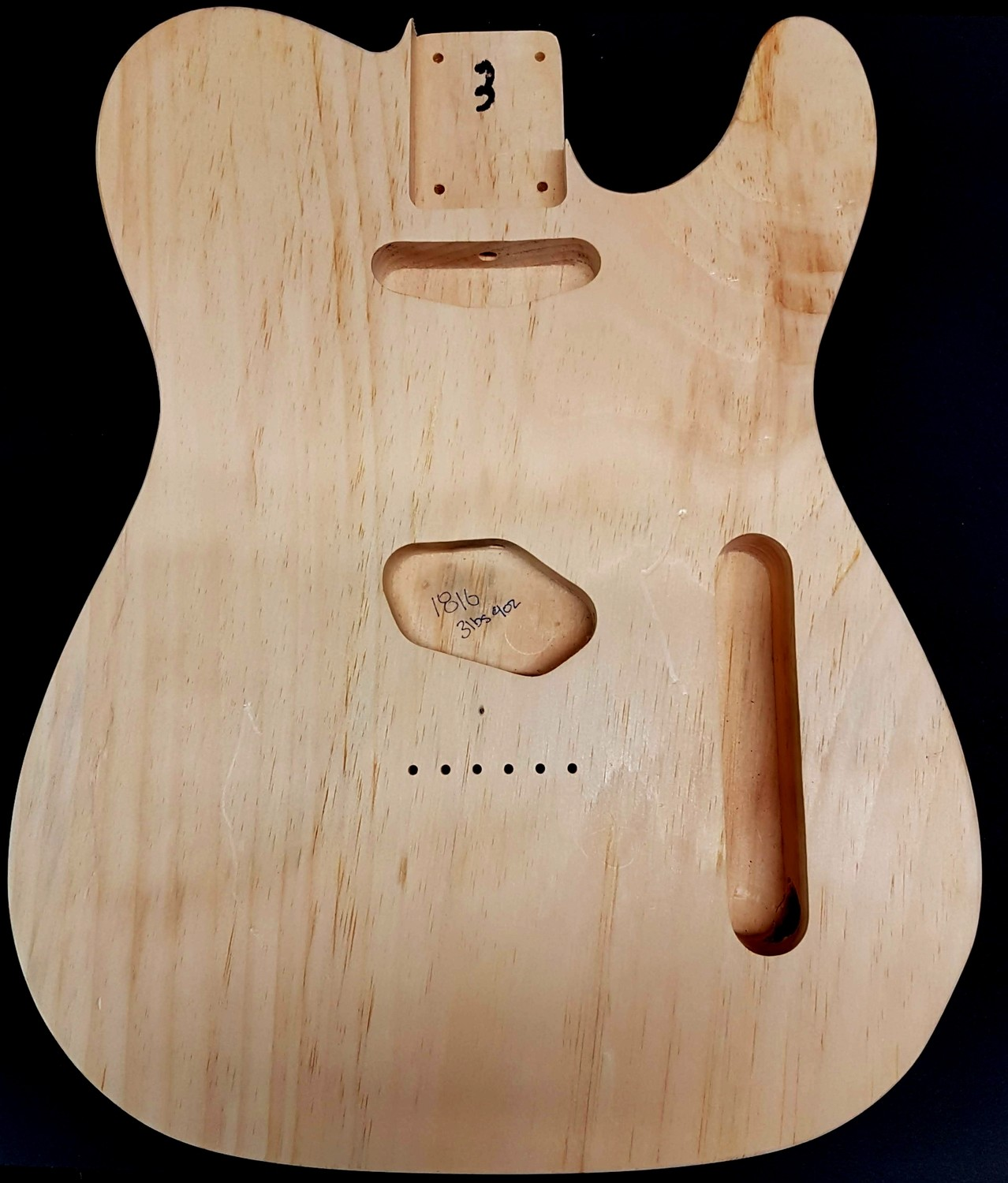 1 Piece Pine telecaster Tele Body 3lbs 9oz Standard routing