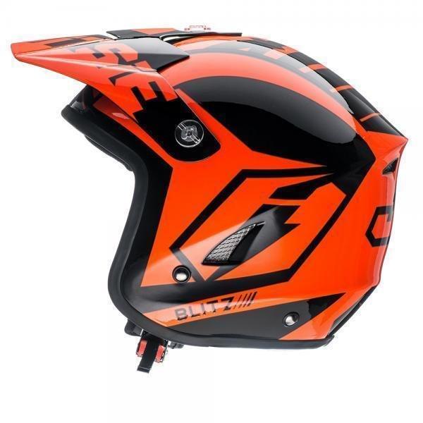 Jitsie HT1 Solid Poly-Carbonate Helmet - Black/Neon Orange