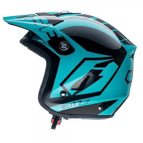 Jitsie HT1 Solid Poly-Carbonate Helmet - Black/Teal