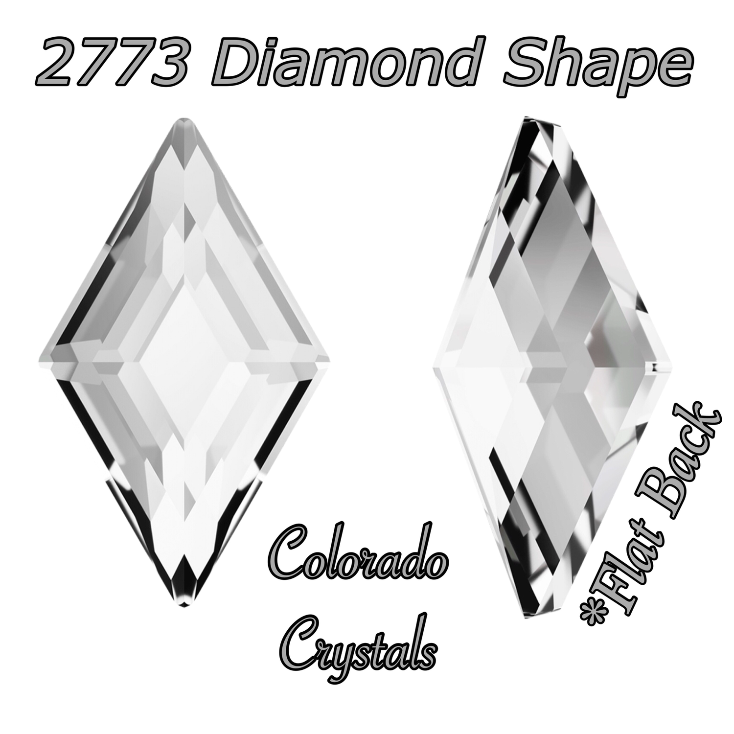 2773 Diamond Shape Crystal 5x3mm Flat back Nail art size