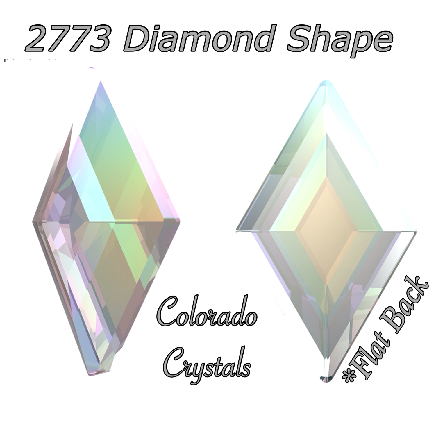2773 Diamond Shape Crystal AB 5X3mm (nail art size)