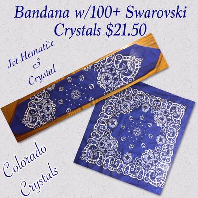 Blue Bandana with Swarovski Crystals
