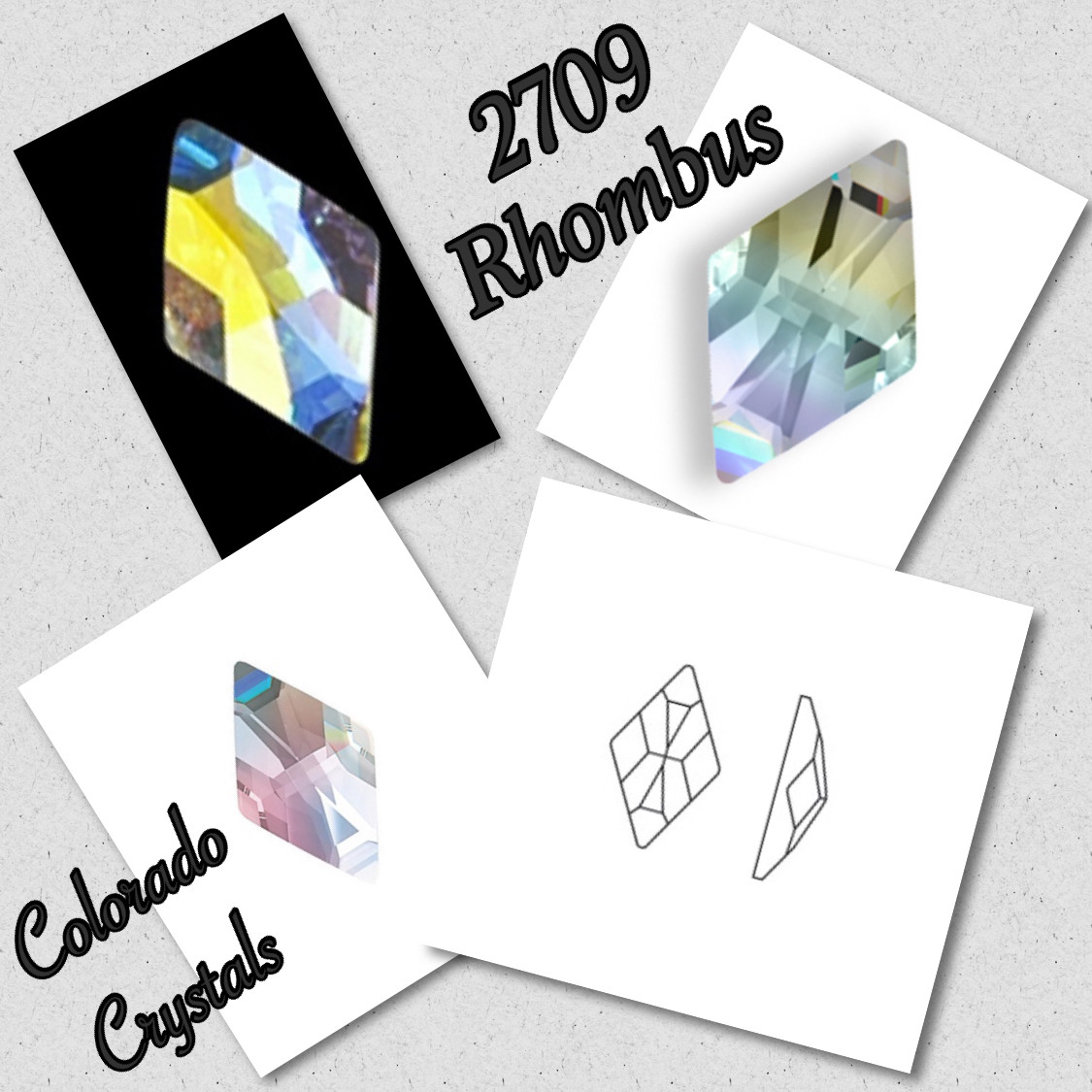 2709 Rhombus 13X8 - Crystal AB - Swarovski Fancy Flatback