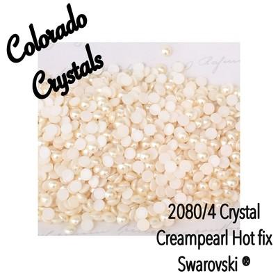 2080/4 Pearl Swarovski Hot Fix Flat backs Cream