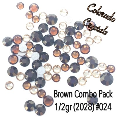 Brown combo Swarovski Crystals in multiple sizes