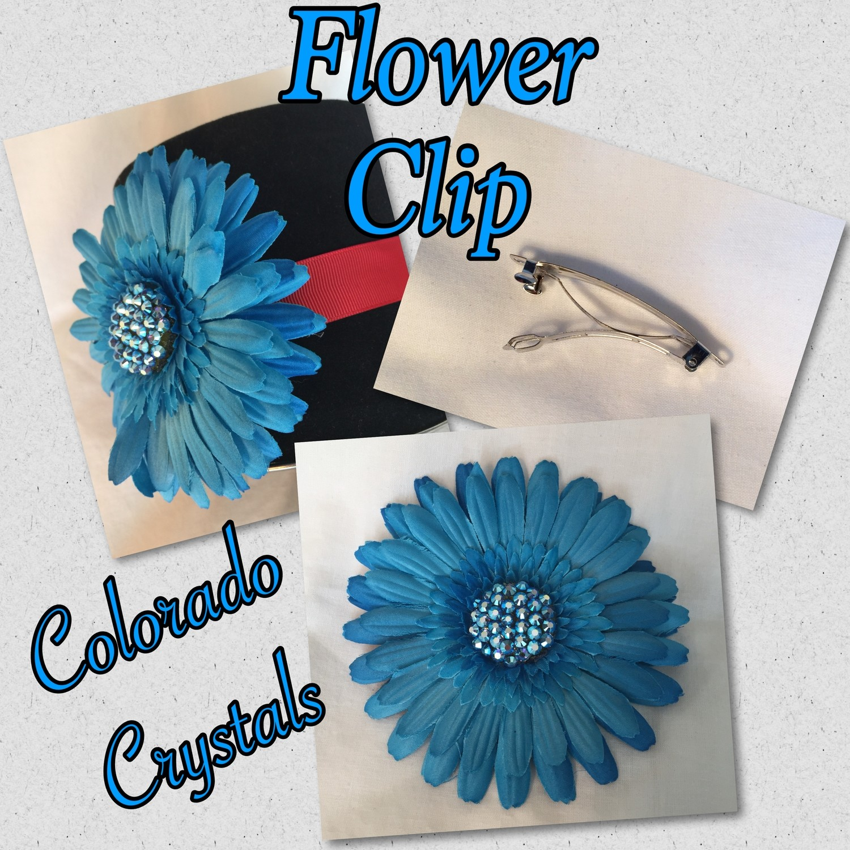 Swarovski Crystal Flower Hair Clip - Dark Blue