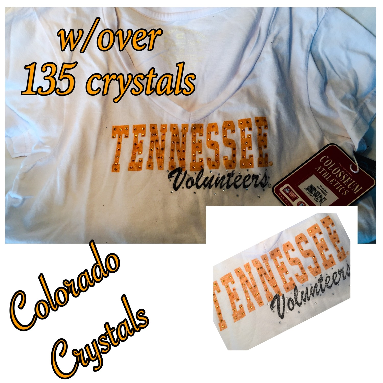 Rhinestoned College Tshirt Tennessee white