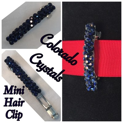 Rhinestoned Hair Barrette Swarovski - Navy Blue