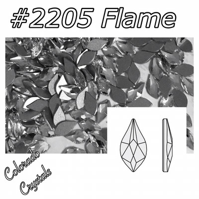 2205 Flame Flat back Swarovski  7.5mm Crystal
