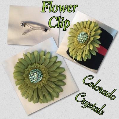 Swarovski Crystal Flower Hair Clip - Green