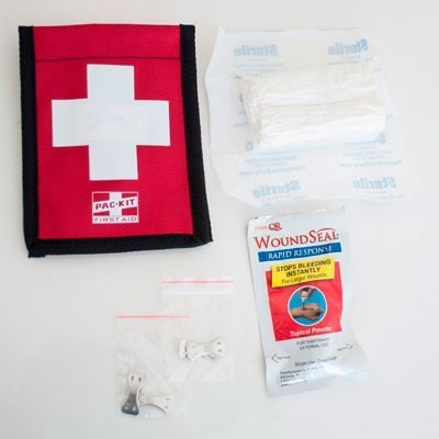 Climber's Blood Stopper First Aid with Wound Seal Kit, Fabric Pouch