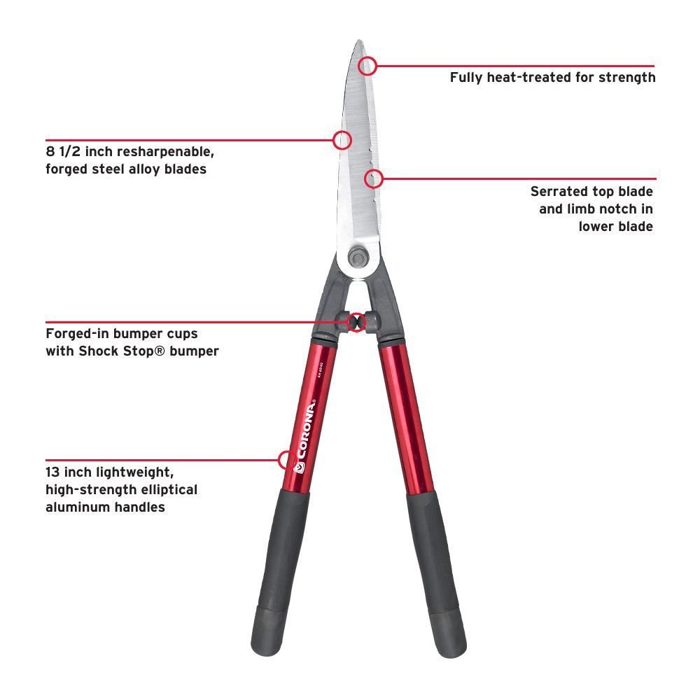 Serrated Hedge Shear - 8 1/2 inch - shorter handles