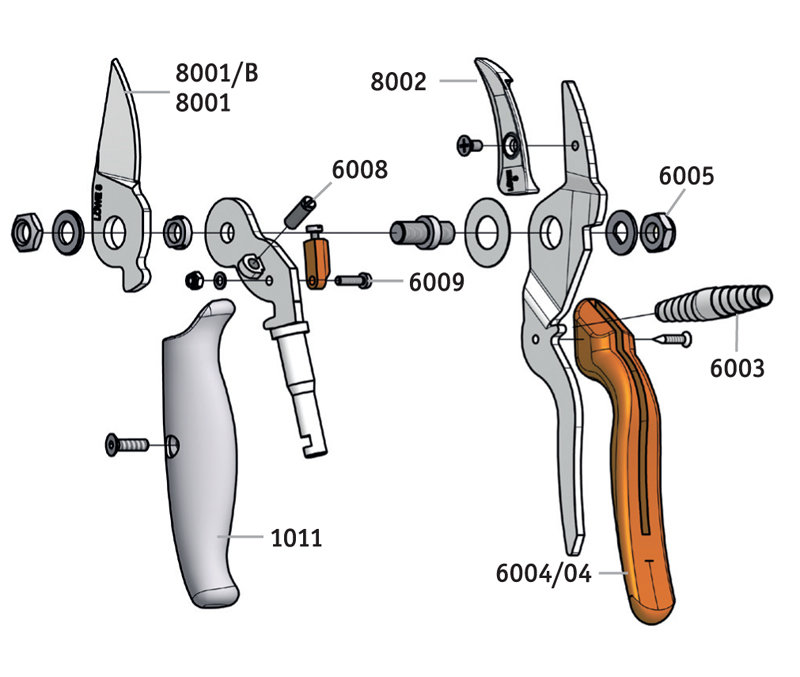 LÖWE 8.109 Anvil pruner with curved blade and rotating handle