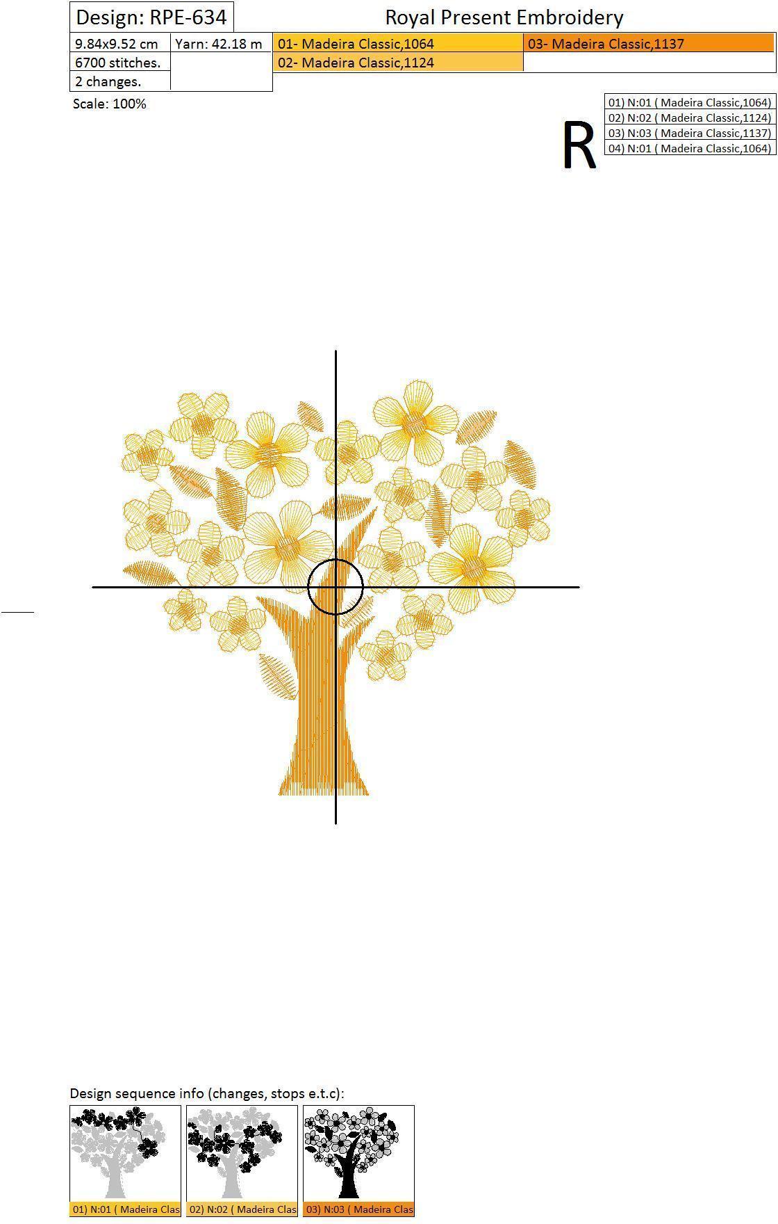 Дизайн для машинной вышивки бесплатно Золотое дерево удачи