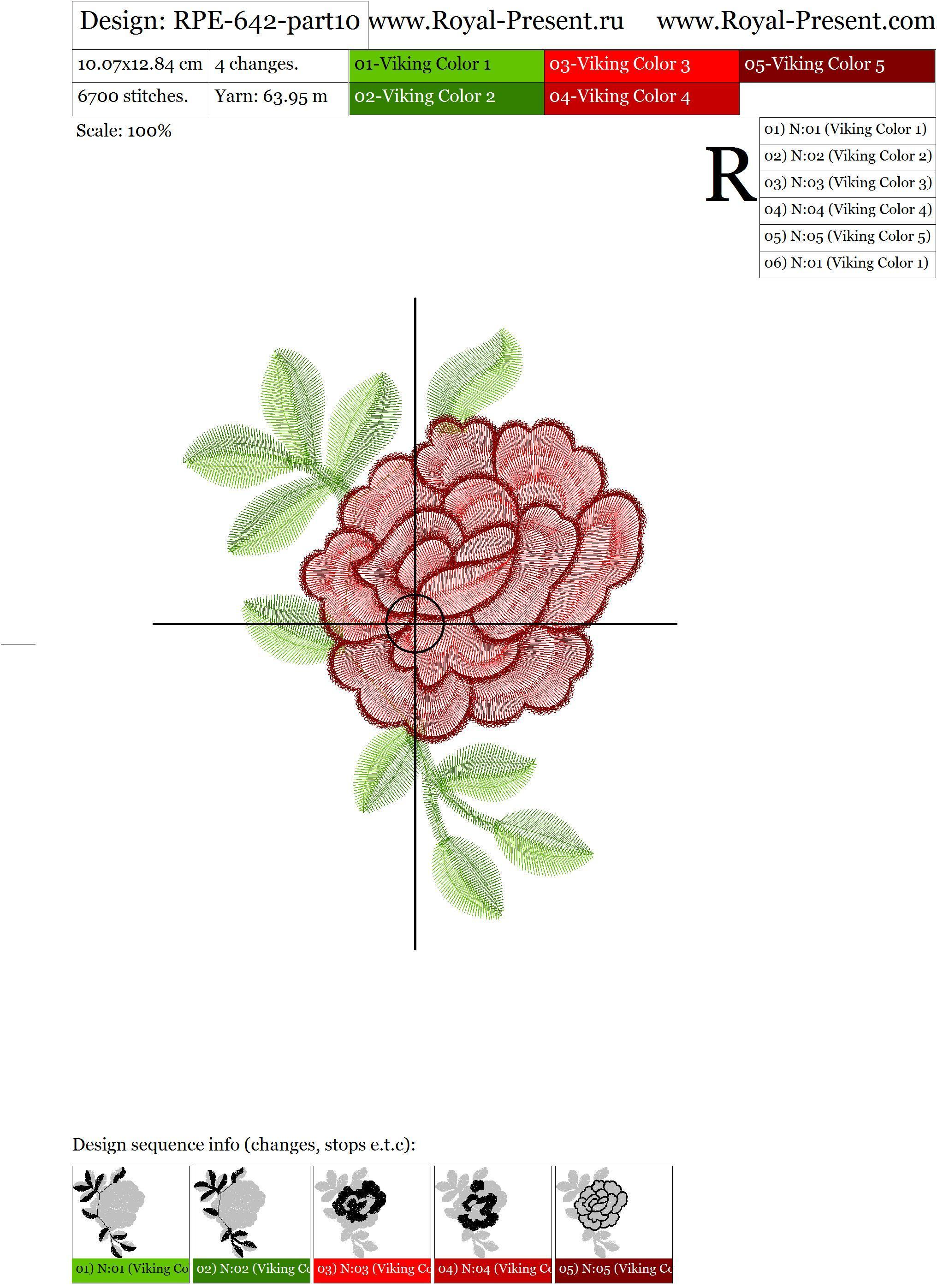 Дизайн для машинной вышивки Горловина с розами