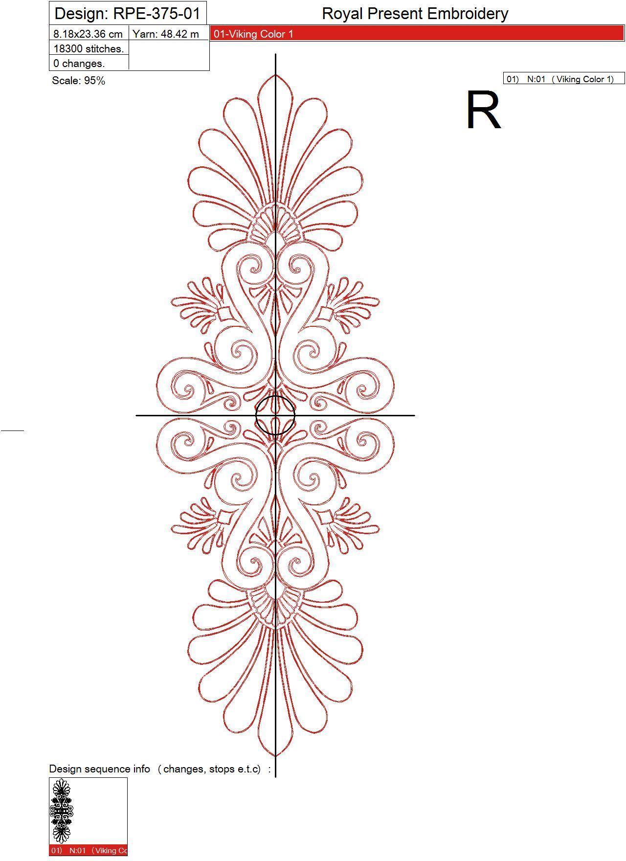 Дизайн машинной вышивки Элегантный декор бесплатно - 3 размера