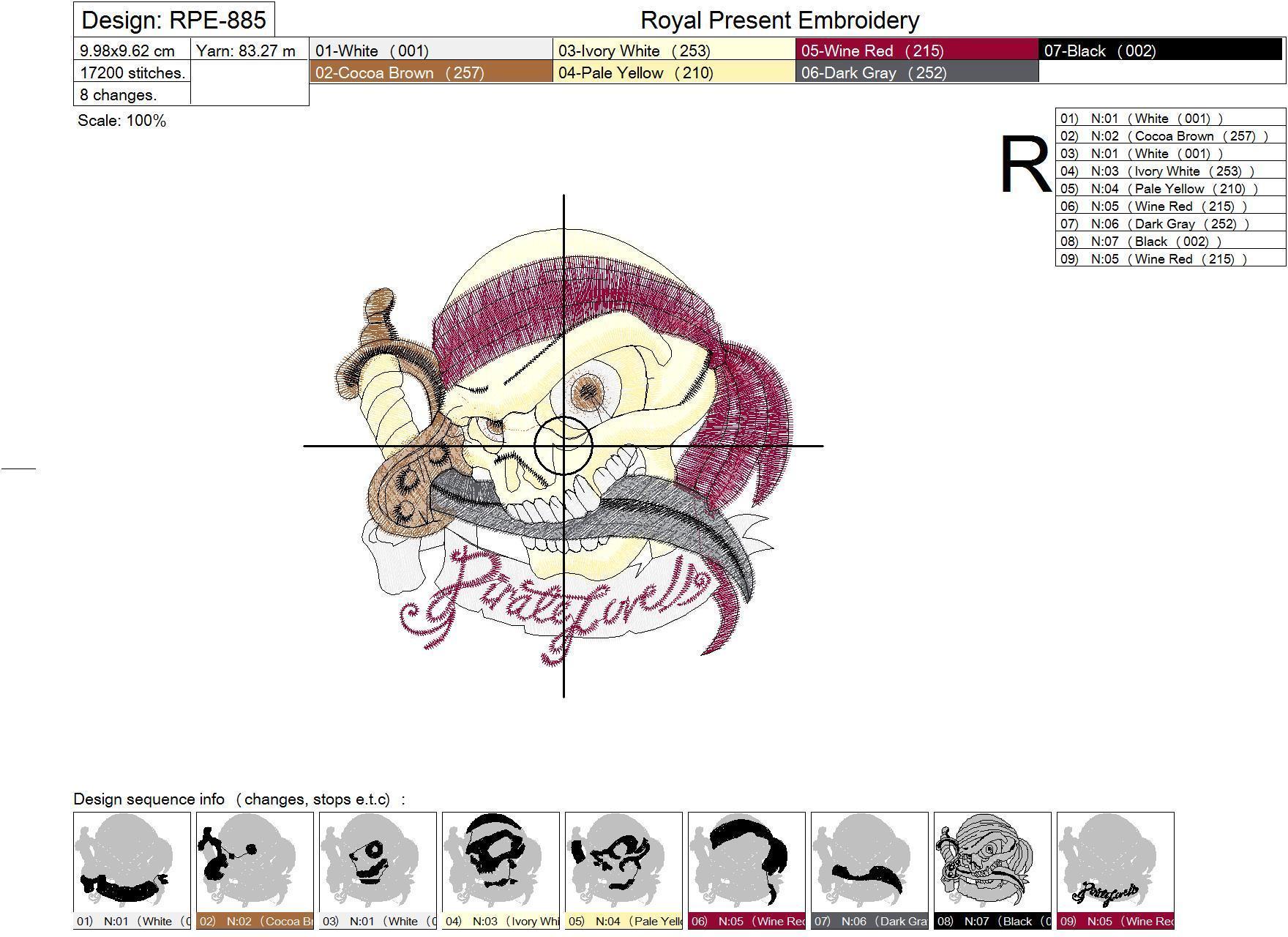 Дизайн машинной вышивки Пиратский череп - 3 размера