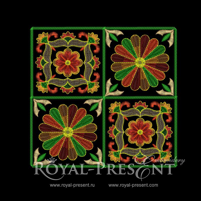 Дизайн машинной вышивки бесплатно Два декоративных элемента