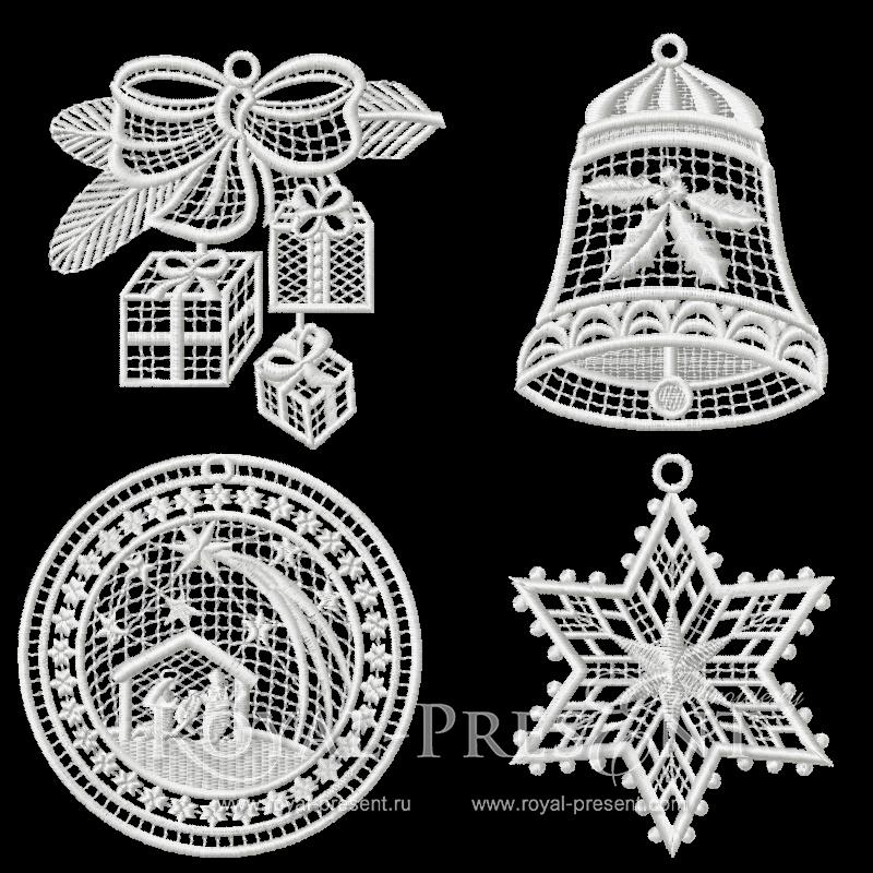 Набор кружевных дизайнов новогодней машинной вышивки Кружевная история #2