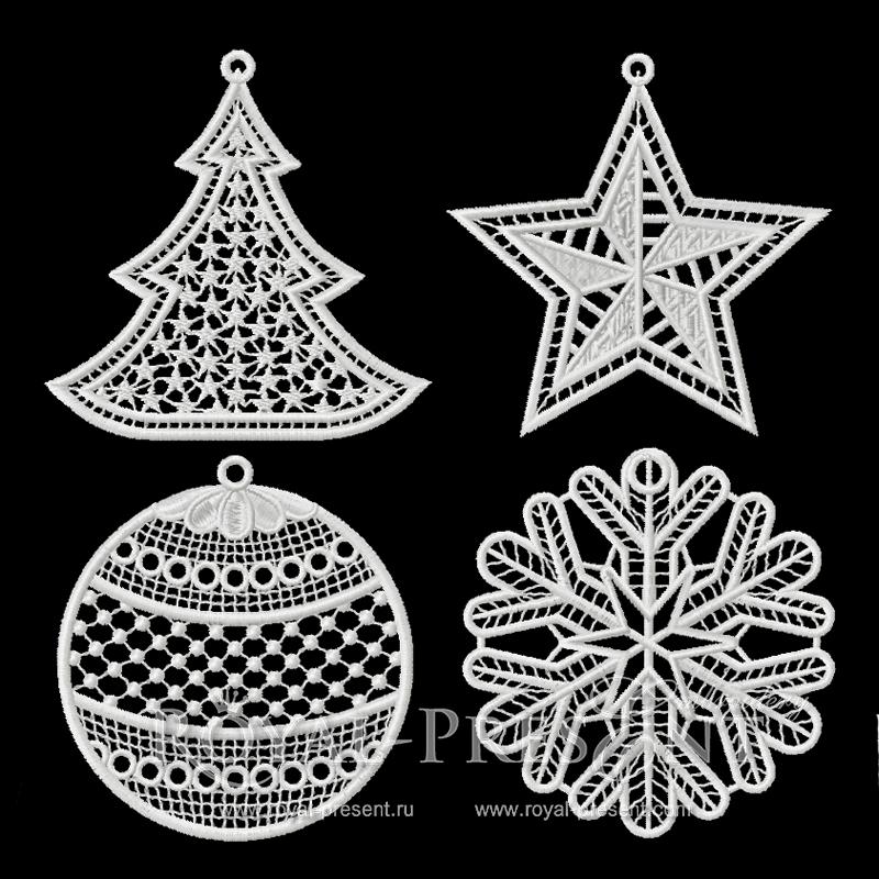 Набор Новогодних кружевных дизайнов машинной вышивки