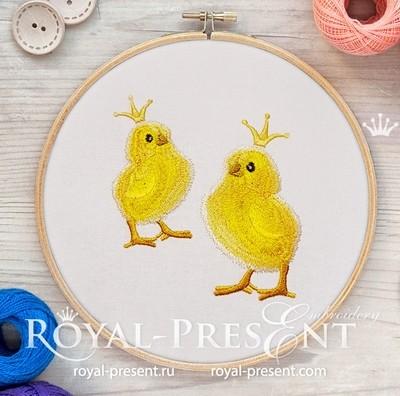 Дизайн машинной вышивки Цыпленок в короне - 2 размера