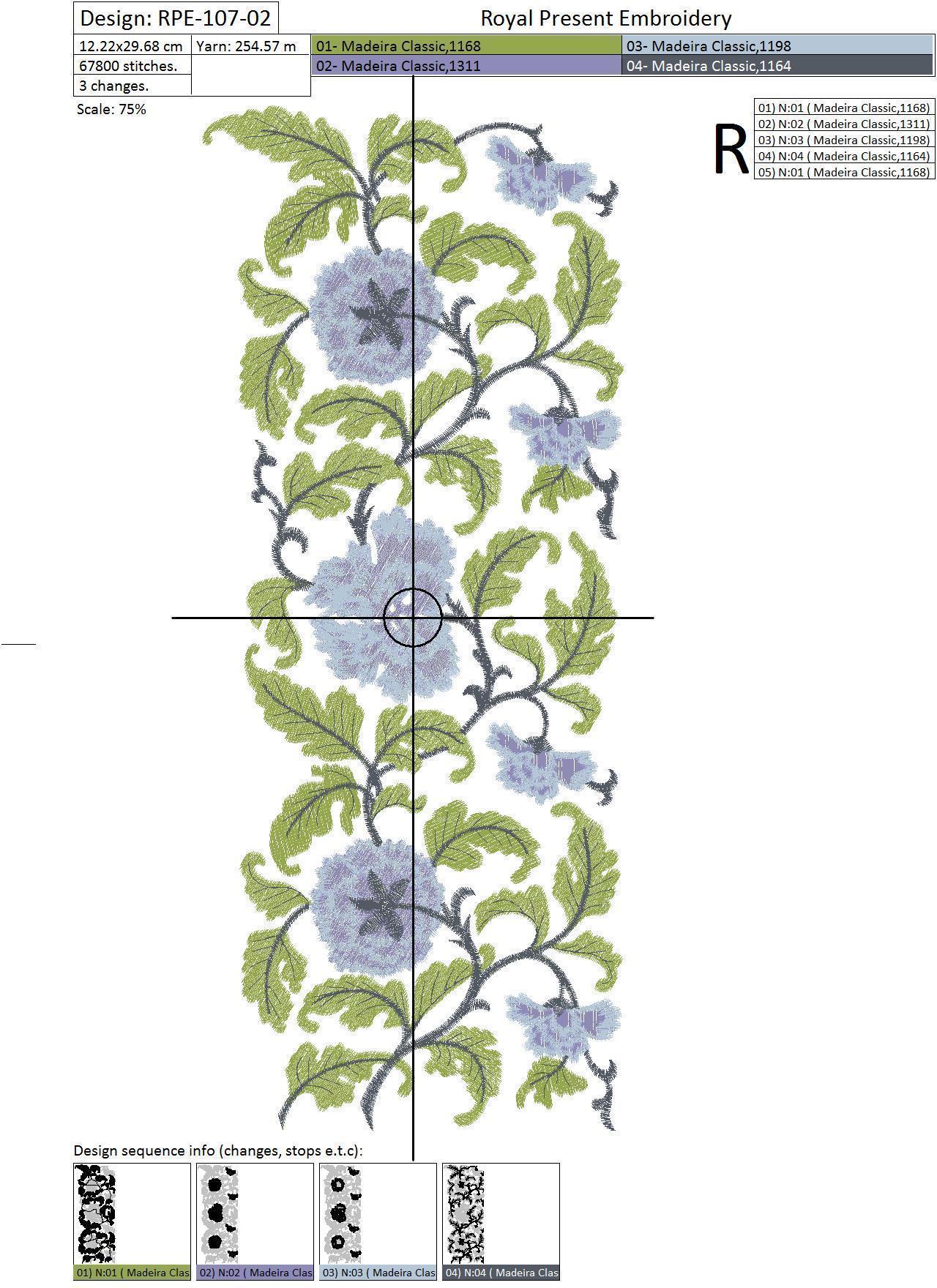 Дизайн машинной вышивки Цветочный бордюр с сиреневыми цветами - 3 размера