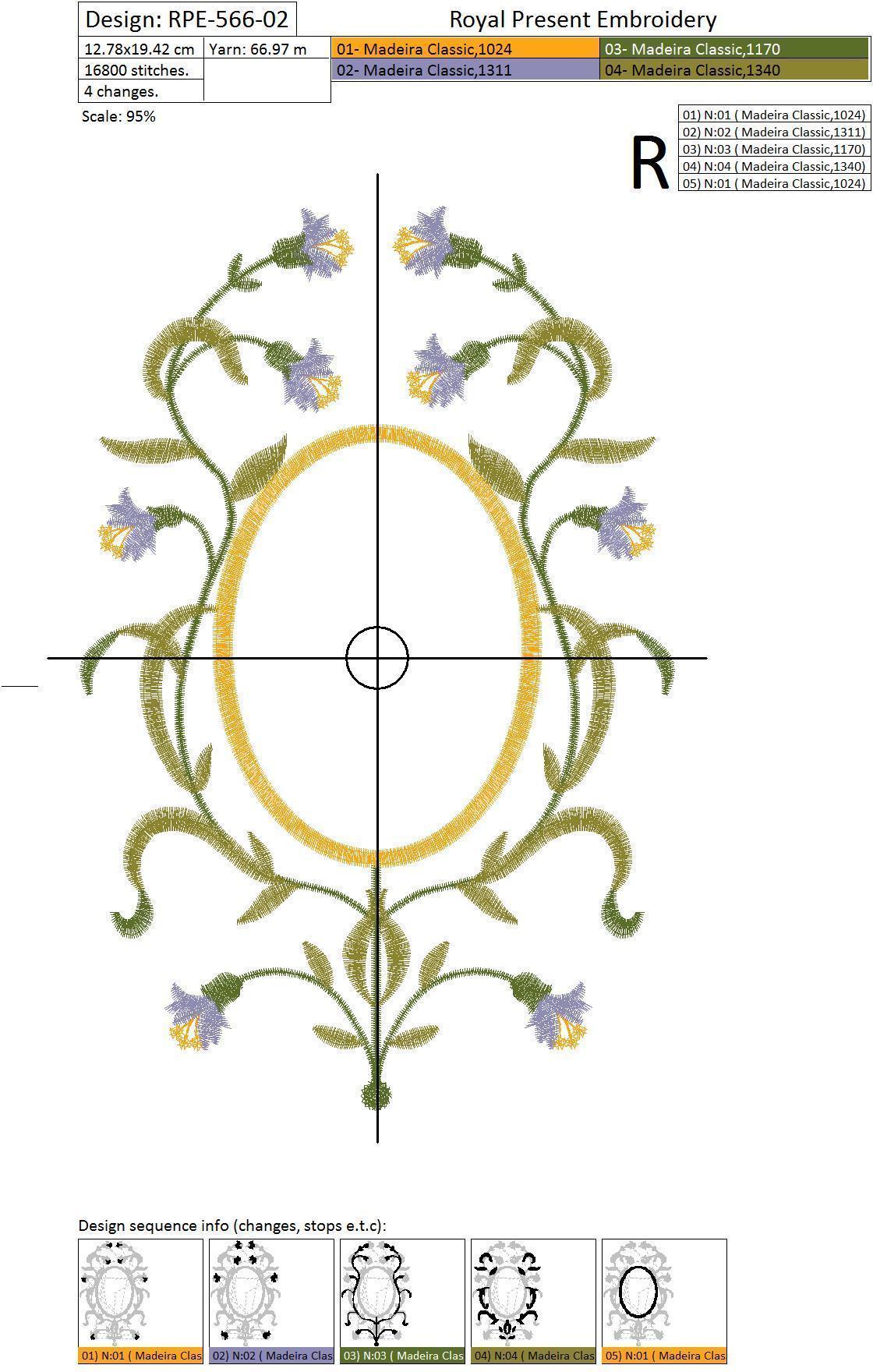 Бесплатный Дизайн машинной вышивки Рамка для монограммы с цветами - 3 размера