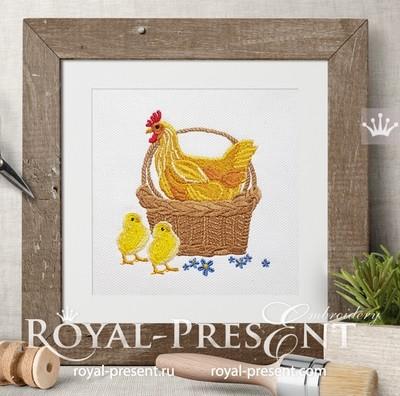 Дизайн машинной вышивки Курочка в корзинке с цыплятами - 3 размера