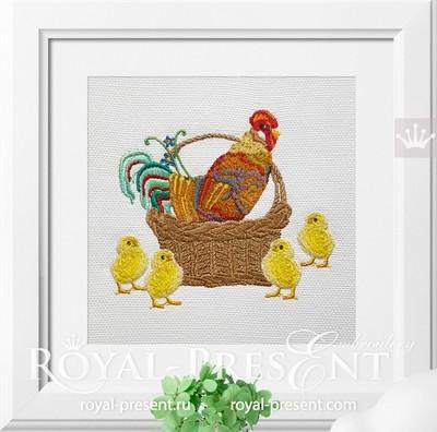 Дизайн машинной вышивки Петух с Цыплятами - 3 размера