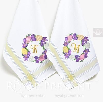 Дизайн машинной вышивки Пасхальные крокусы венок - 4 размера