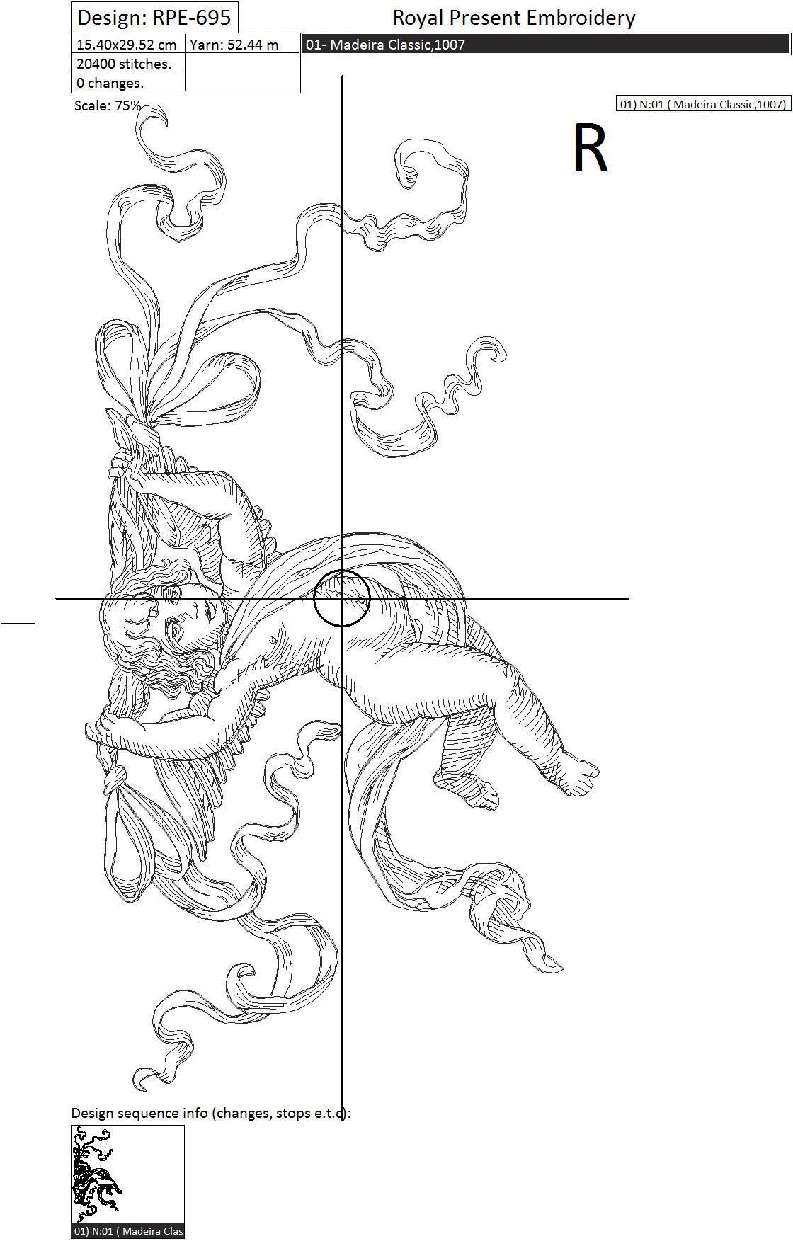 Дизайн машинной вышивки Купидон с лентами - 3 размера