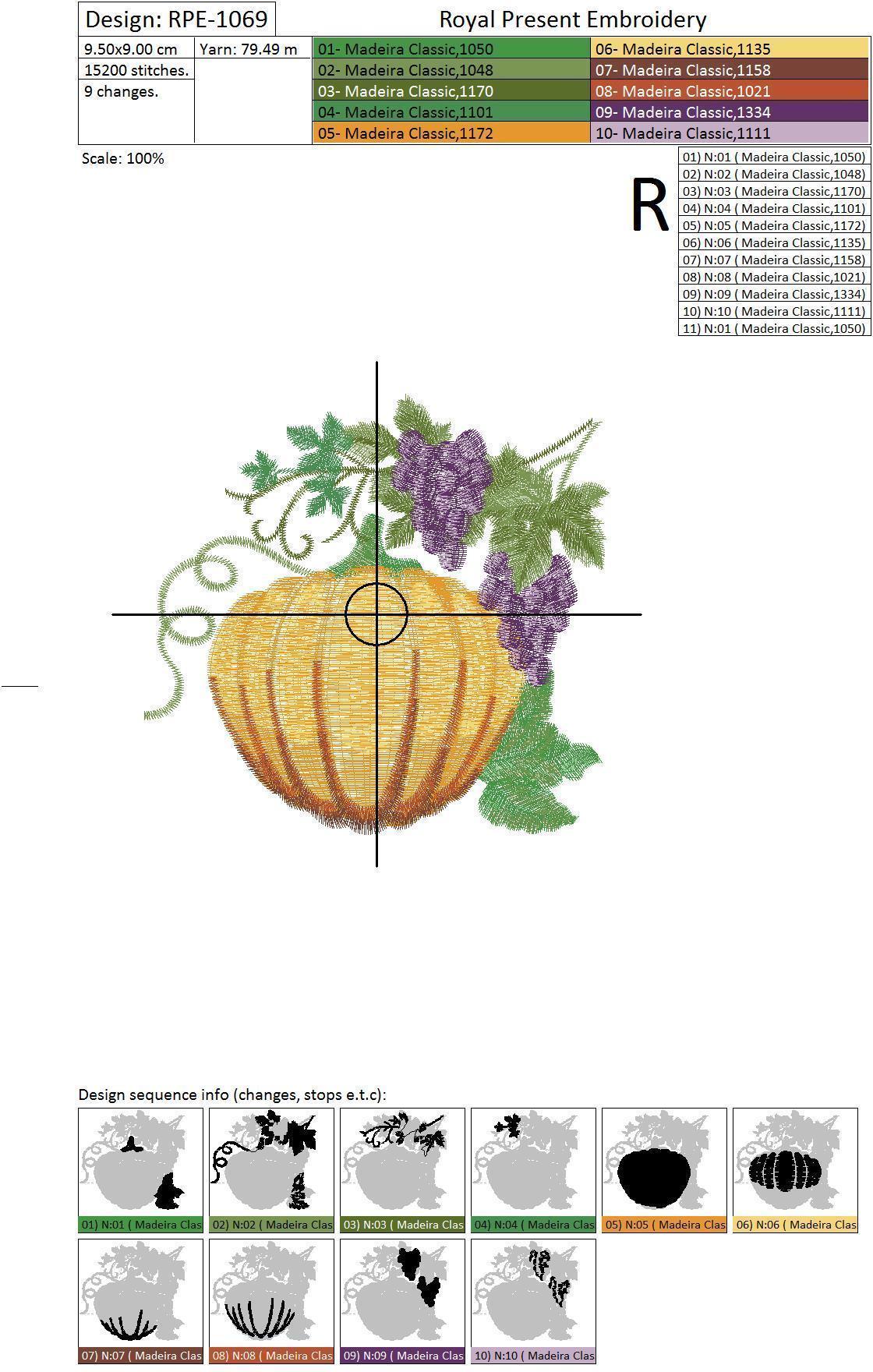 Бесплатный Дизайн машинной вышивки Тыква с виноградом