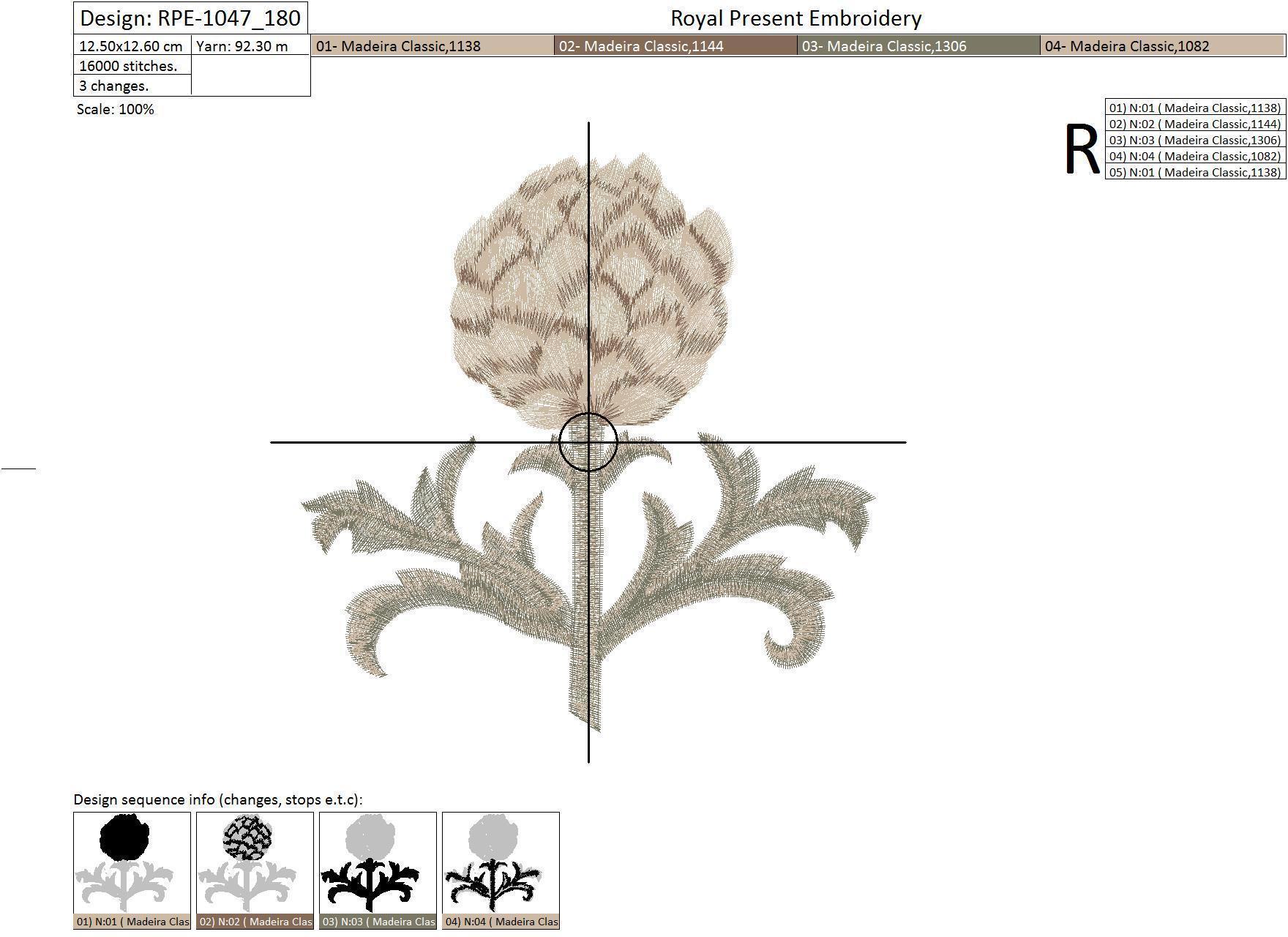 Дизайн машинной вышивки Артишок - 2 размера