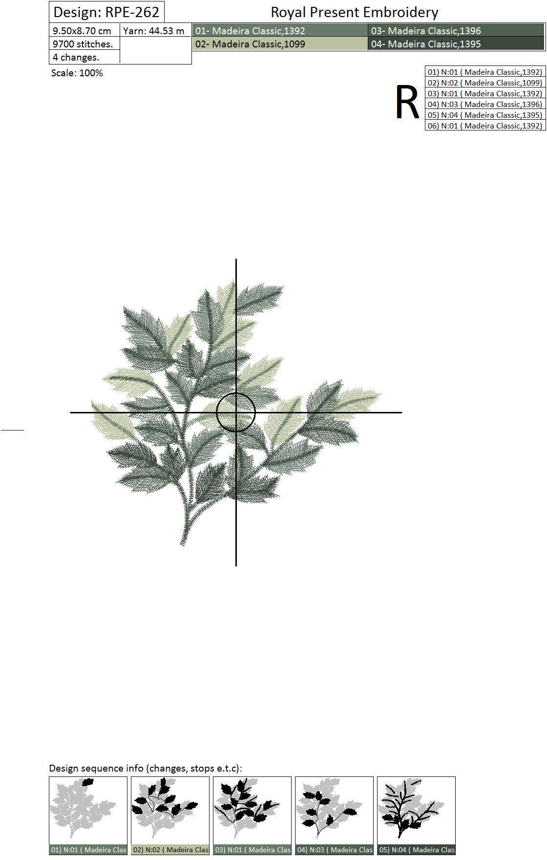 Дизайн машинной вышивки Зеленые листья